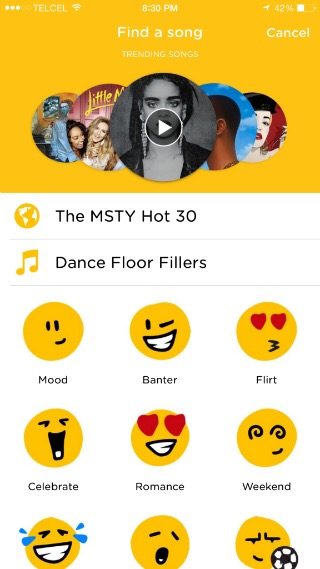 MSTY, a messenger app to send songs